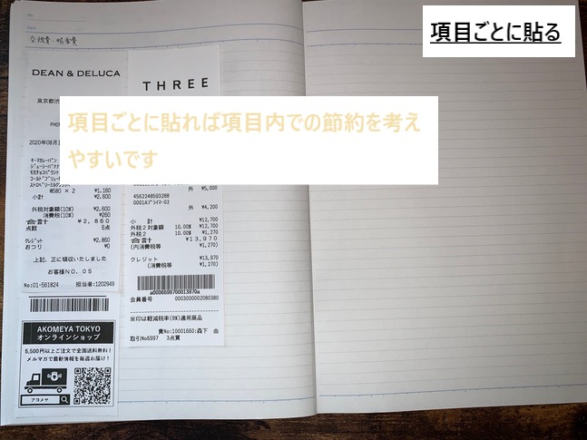 項目ごとにレシートを貼ってる家計簿の写真