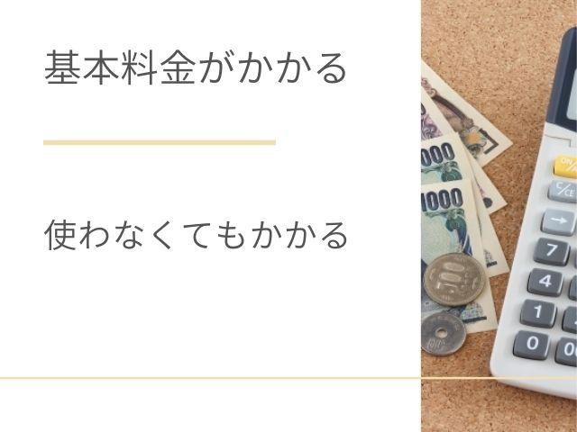お金と電卓の写真 基本料金がかかる 使わなくてもかかる