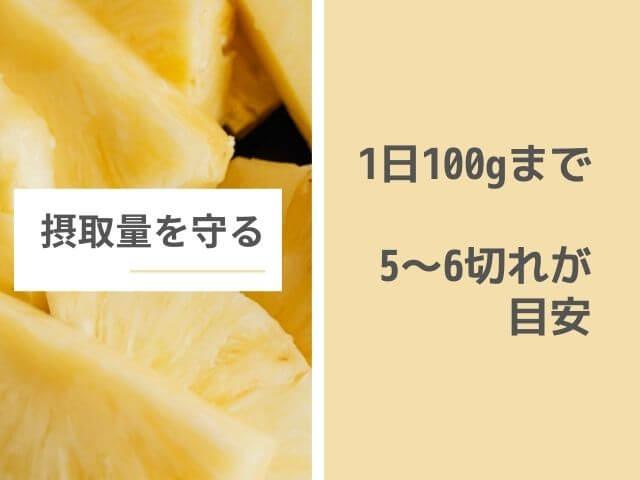 スライスしたパイナップルの写真 摂取量を守る 1日100gまで 5〜6切れが目安