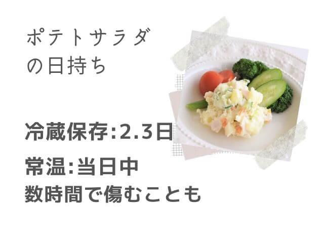 ポテトサラダの写真 ポテトサラダの日持ち 冷蔵保存:2.3日 常温:当日中 数時間で傷むことも