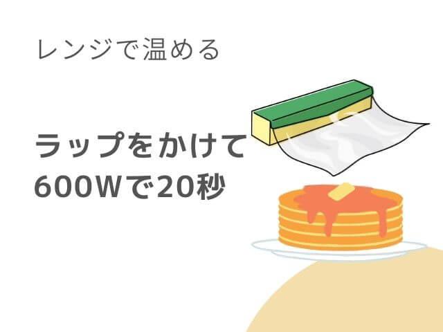 お皿に乗ったホットケーキとラップのイラスト ラップをかけて600Wで20秒 レンジで温める