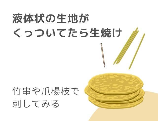 ホットケーキと竹串と爪楊枝のイラスト 竹串や爪楊枝で刺してみる 液体状の生地がくっついてたら生焼け