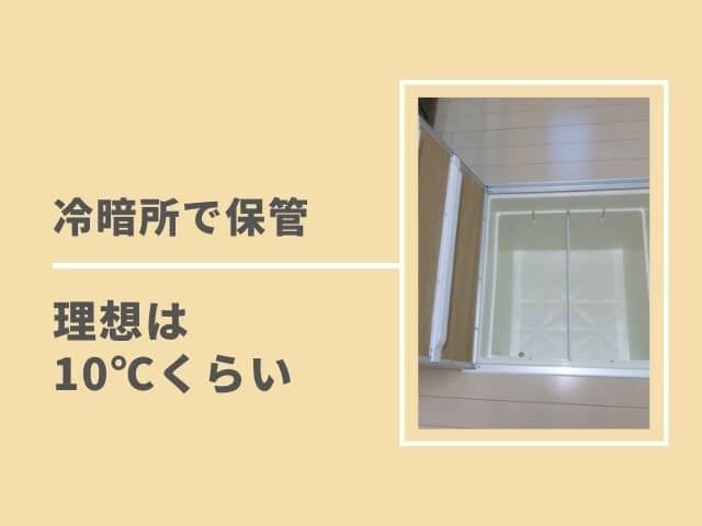 床下収納の写真 冷暗所で保管 理想は10℃くらい
