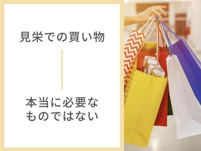 大量のショッピングバッグの写真 見栄で買わない 本当に必要なものではない